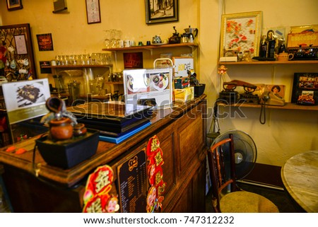 Phuket,Thailand-01 May 2017 - The popular vintage coffee shop style at Phuket old town.