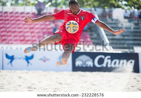 PHUKET THAILAND-NOVEMBER16 : Mohamme HAajeyah of Kuwait in action during the Beach Soccer match between Kuwait and Thailand the 2014 Asian Beach Games at Saphan Hin on November16,2014 in Thailand - stock photo