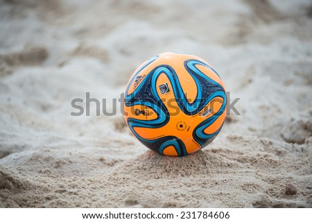 PHUKET THAILAND-NOVEMBER15:The brazuca official match ball  during the Beach Soccer match between Thailand and Qatar the 2014 Asian Beach Games at Saphan Hin on Nov 15,2014 in Thailand - stock photo