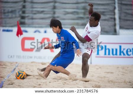 PHUKET THAILAND-NOVEMBER15: Watchara Lepaijit of Thailand in action during the Beach Soccer match between Thailand and Qatar the 2014 Asian Beach Games at Saphan Hin on Nov 15,2014 in Thailand - stock photo