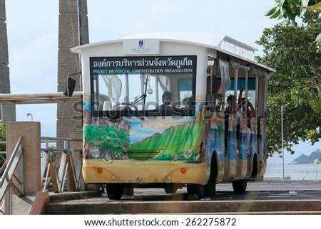 PHUKET, THAILAND - OCTOBER  30 2011:  Shuttle bus of Chalong Pier. Chalong Pier is Main Pier of travel ship from Phuket to Phi Phi island. Phuket island, thailand.