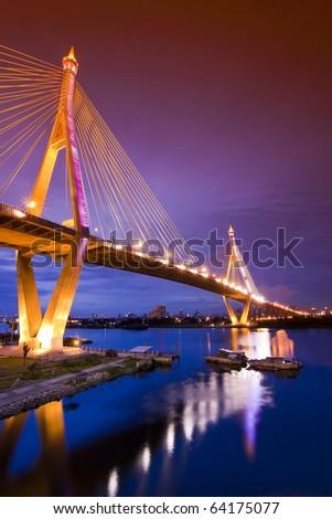 Phummiphol Bridge in Thailand - stock photo