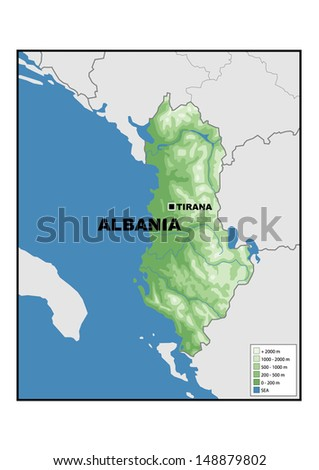 Physical map of Albania - stock photo