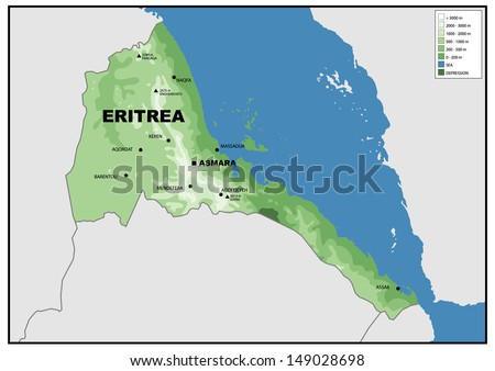 Physical Map Eritrea Stock Illustration 149028698 Shutterstock
