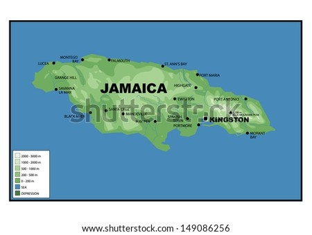 Physical Map Cuba Stock Illustration Shutterstock - Physical map of jamaica