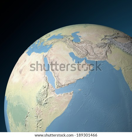 Physical map of Middle East. Elements of this image furnished by NASA - stock photo