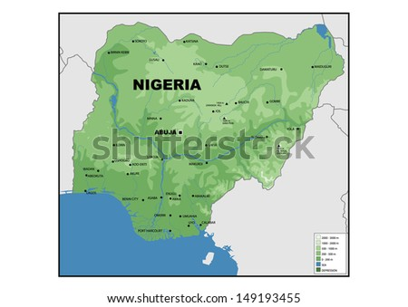 Physical Map Nigeria Stock Illustration 149193455 Shutterstock