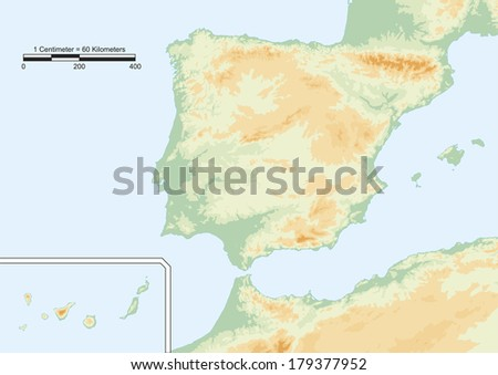 Physical map of Spain with scale. Elements of this image furnished by NASA - stock photo