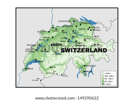 Physical Map Switzerland Stock Illustration 149290622 Shutterstock