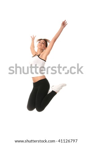 Physical training (aerobics) of beautiful young woman isolated on white background