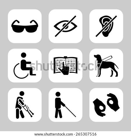 Physically disability related  icon set - stock photo