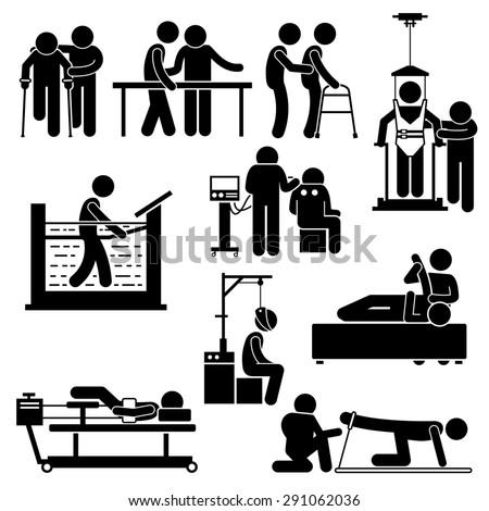 Physio Physiotherapy and Rehabilitation Treatment Stick Figure Pictogram Icons - stock photo