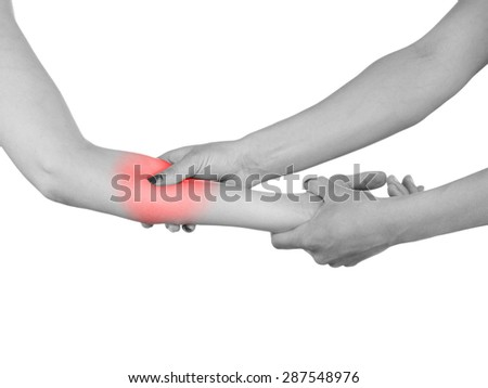 Physiotherapy treatment for  elbow pain, aches and tension. It  is also used for prevention and treatment in competitive sports.  - stock photo