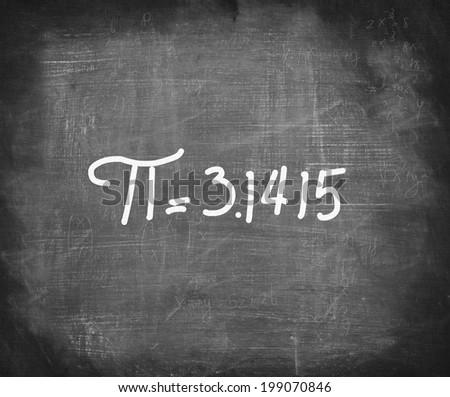 Pi number handwritten with white chalk on blackboard,mathematics concept .  - stock photo