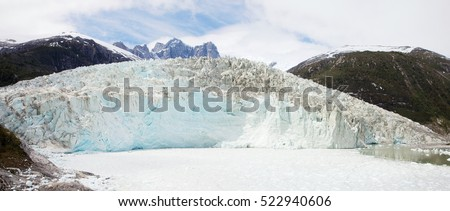 Pia Glacier in Parque Nacional Alberto de Agostini in the Beagle Channel of Patagonia, Chile in Summer