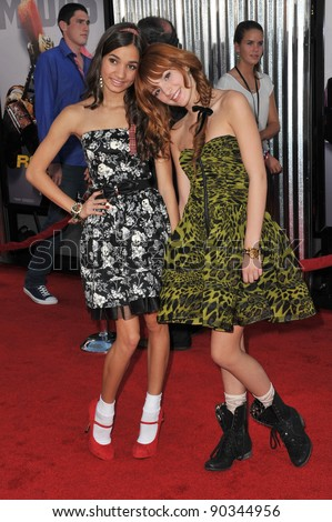 "Pia Mia & Bella Thorne (right) at the Los Angeles premiere of ""Real Steel"" at Universal Studios Hollywood. October 2, 2011  Los Angeles, CA Picture: Paul Smith / Featureflash - stock photo"