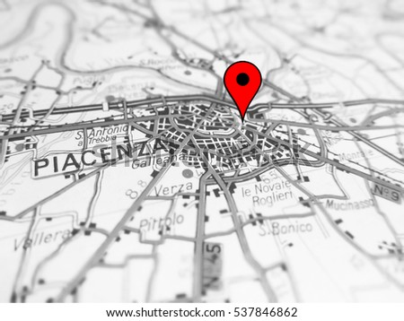 Piacenza City Over Road Map Italy Stock Photo 537846862 Shutterstock