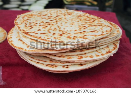 piadina typical product from the oven - stock photo