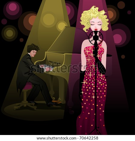 pianist and singer performing on stage - for vector version see image no. 69551446