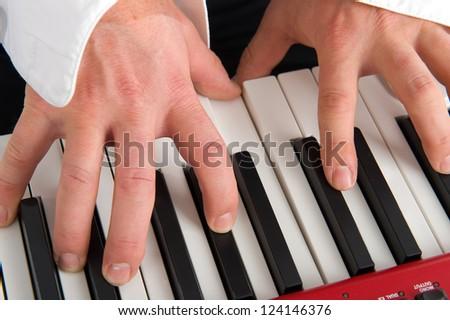 pianists hands - stock photo