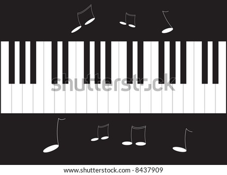 Piano and notes illustration - stock photo