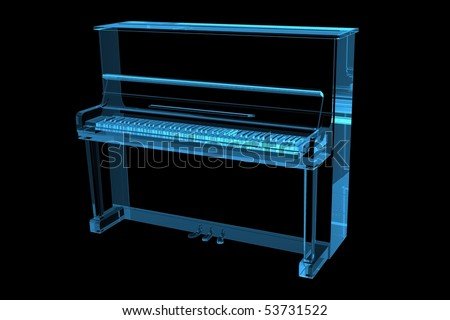 Piano 3D X-Ray Blue Transparent