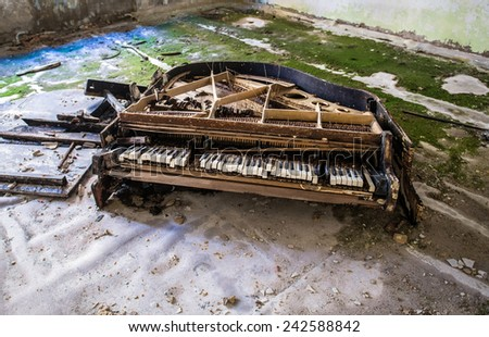 piano in music school in Pripyat town, Chernobyl Nuclear Power Plant Zone of Alienation, Ukraine - stock photo
