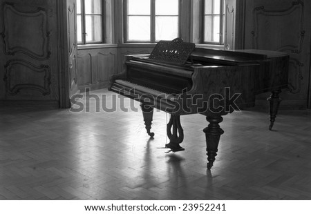 piano in old castle - stock photo