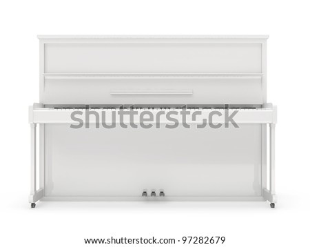 Piano isolated on white background