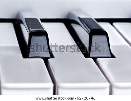 Piano key closeup - stock photo