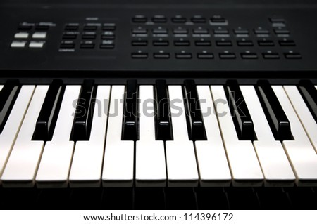 Piano keyboard close up of monochrome