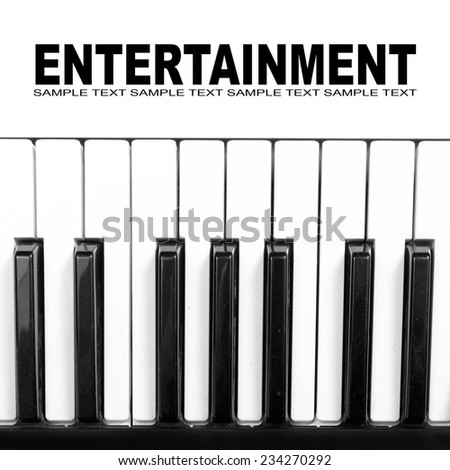 Piano keyboard closeup with space for your text. - stock photo