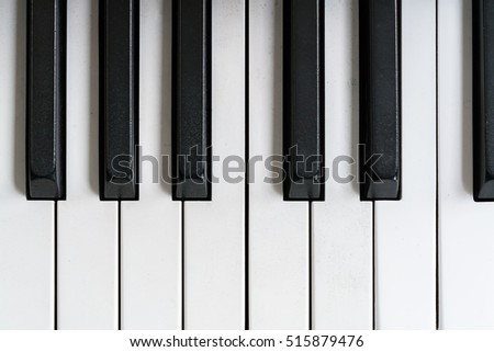 Piano keyboard of close-up