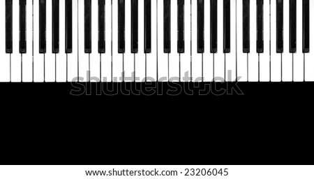 Piano keyboard  on black background. - stock photo