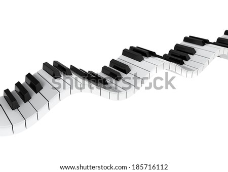 Piano keyboard wave. 3d illustration on white background - stock photo
