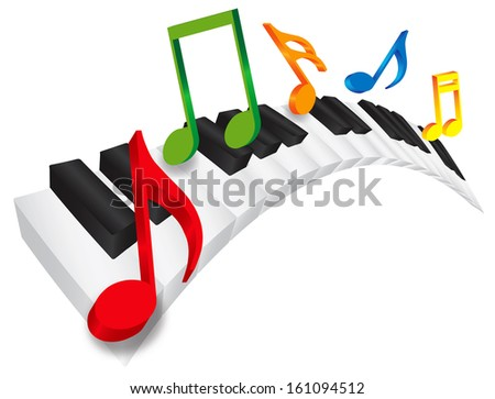 Piano Keyboard with Black and White Wavy Keys and Colorful Music Notes in 3D Isolated on White Background Raster Illustration - stock photo
