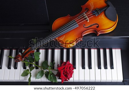 Piano keyboards, violin, red rose