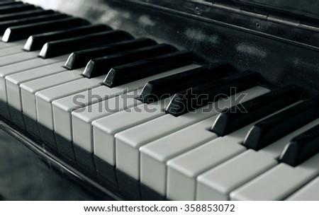 Piano keys black and white - stock photo