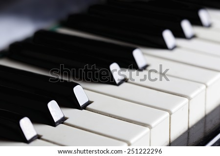 Piano keys close-up. Horizontal image. - stock photo