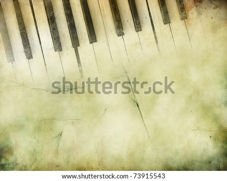 PIano keys in grunge style. Music concept. - stock photo