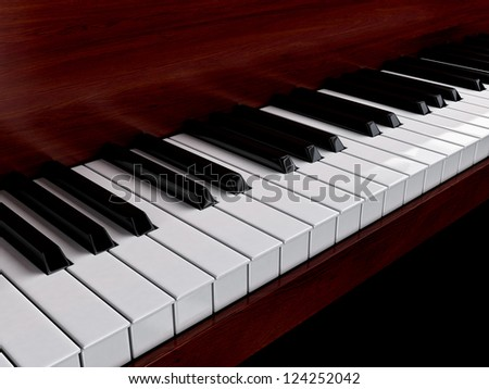 Piano keys with red wood