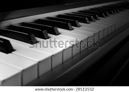 Piano MIDI interface keyboard - closeup view (detail) - stock photo