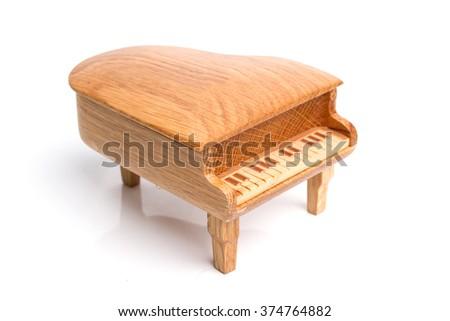 piano music box isolated on white background - stock photo