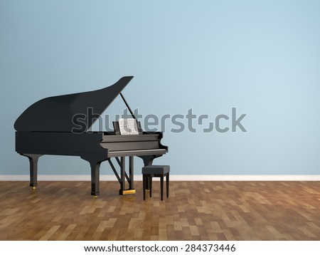 piano room Interior 3d rendering image - stock photo