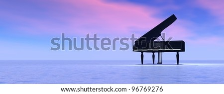 Piano standing alone in the nature by pink and blue sunset byckbround - stock photo