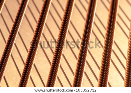 Piano String Closeup - stock photo