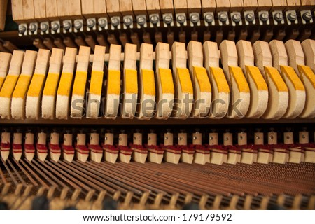 Piano strings and hammers.