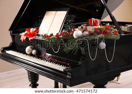 Piano with Christmas decoration