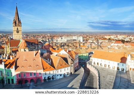 Piata Mare (Large square) in Sibiu, Romania after Christmas time - stock photo