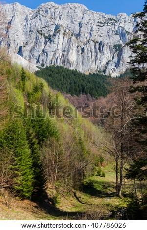 Piatra Craiului Mountains are a mountain range in the Southern Carpathians in Romania. - stock photo